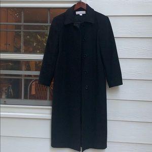 Liz Claiborne long black wool coat 10p